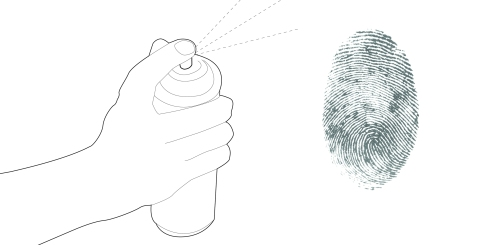 An illustration that communicates the use of forensic fingerprint techniques.
