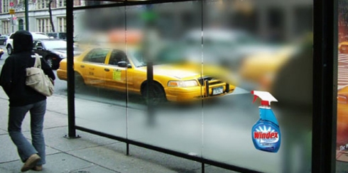 Clever use of outdoor advertising, promotoing window cleaner, Cleanex.